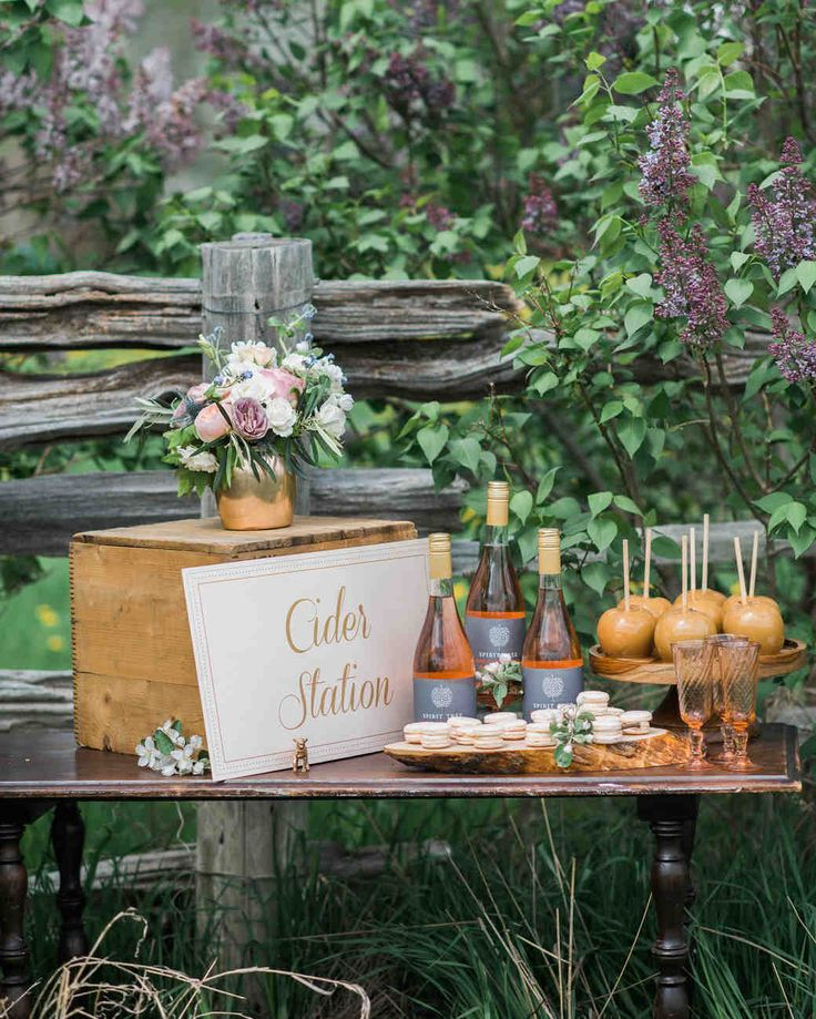 Trending Now: Drink Stations to Elevate Your Reception | Martha Stewart Weddings - Not big on beer, wine, or cocktails? Create a seasonal cider bar, where guests can pour a chilled glass of your favorite hard cider and snack on treats like macarons and caramel apples.