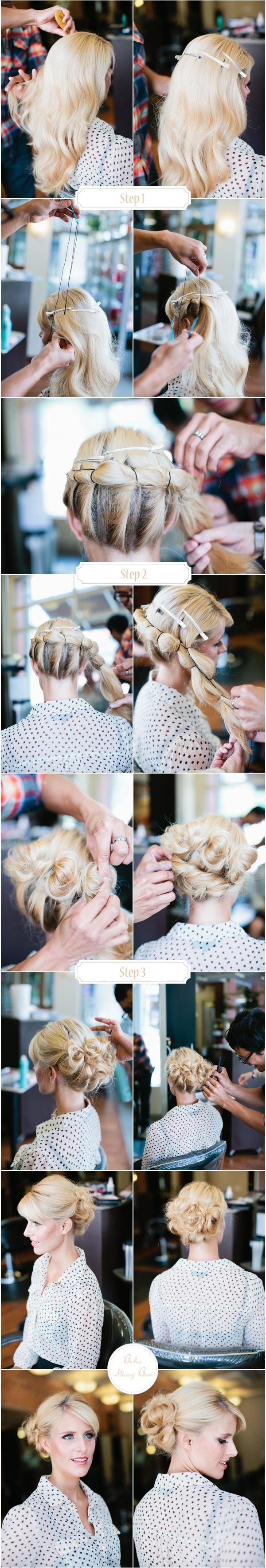 bridal boho messy bun. I could NEVER figure out how to actually do that, but it (surprisingly) ended up cute.