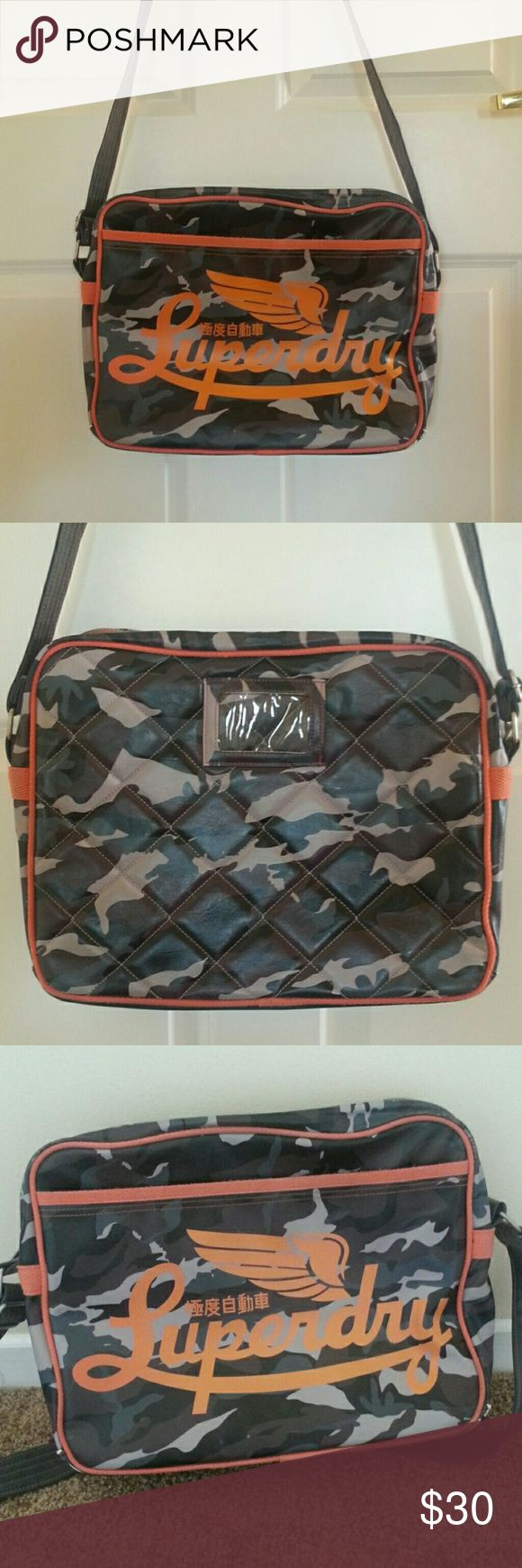 Superdry orange bag Large superdry bag. Good condition but shows some wear as pictured. Inside is perfect. Dimensions 14inches by 11 inches high Superdry Bags Messenger Bags