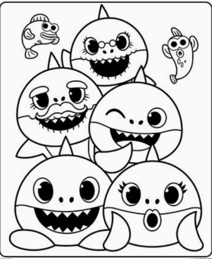 Black And White Baby Shark : black, white, shark, Shark, Family, Pinkfong,, Super, Simple, Раскраска, акуленок, бейби, шарк, Coloring, Pages,, Drawings,, Drawing