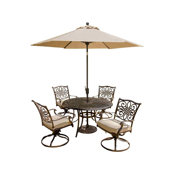 Hanover Outdoor Furniture Traditions 5 Pc. Dining Set of 4 Aluminum Cast Swivel Chairs, 48 in. Round Table, and a Table Umbrella, Tan