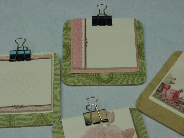Sticky note clip board made with cork coasters sticky for Sticky boards for crafts