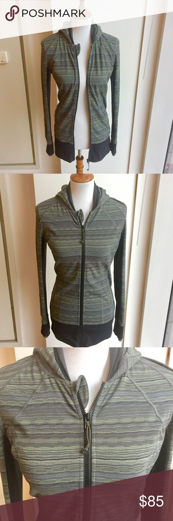 Lululemon Striped Zip Up Hoodie - Like new Lululemon Striped Zip Up Hoodie - size 6 - worn 3-5 times/like new - color is hard to describe but is a gorgeous combo of gray, green & blue - longer style that covers some of butt - thumbholes, 2 waist pockets - received as a gift Xmas 2015 but need a size smaller so it's been sitting in my closet - bundle & save! lululemon athletica Jackets & Coats