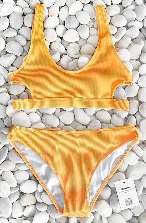 Stunning New Arrival~ Fresh & Sporty & Energetic~ Best respond for calling of sea, suit in this chic solid yellow bikini set and enjoy your vacation. Free shipping. Shop now! #SuitSets