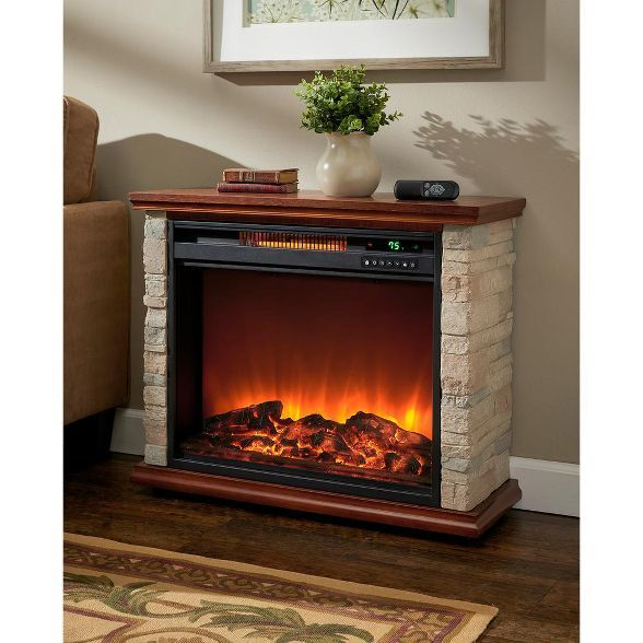 Lifesmart Fp1136 Large Room Quartz Infrared Electric Fireplace Space Room Zone Heater With Remote Faux Stone Freestanding Fireplace Fireplace Heater Electric Fireplace