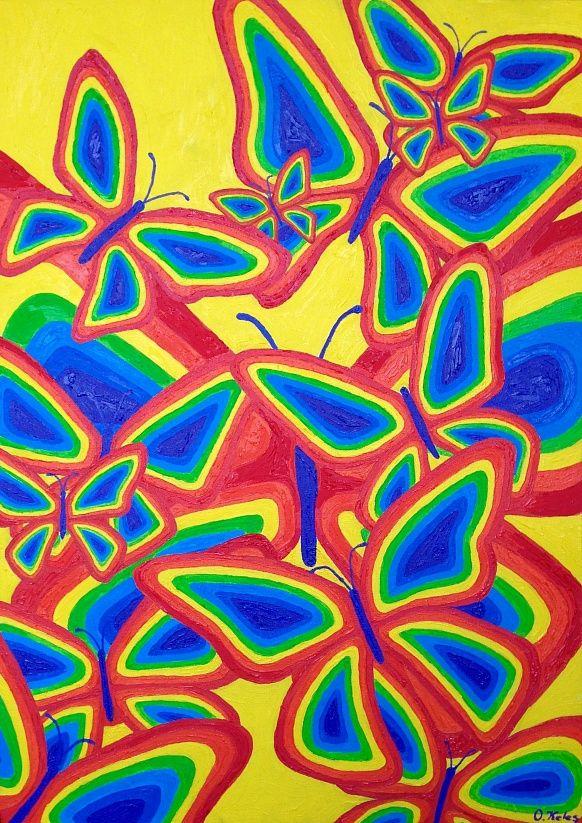 Butterflies 50#70 Oil, Canvas #butterflies #art #beautidul #olgakeles #modern #rainbow #rainbowart #contamporary #painting #oilpainting #creation # positivism #positivismart #fly #colorful #magic