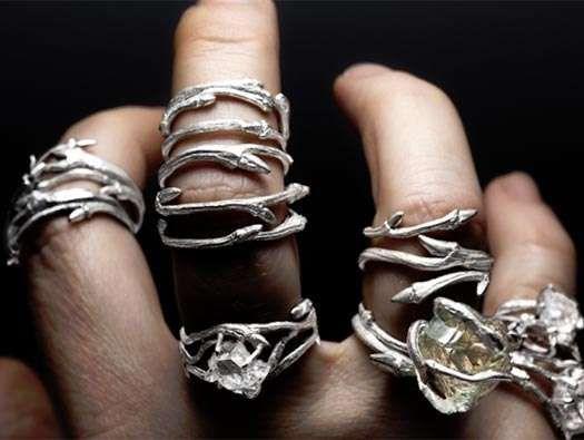 elvish rings by joanna szkiela feature naturally faceted herkimer diamonds - Elvish Wedding Rings
