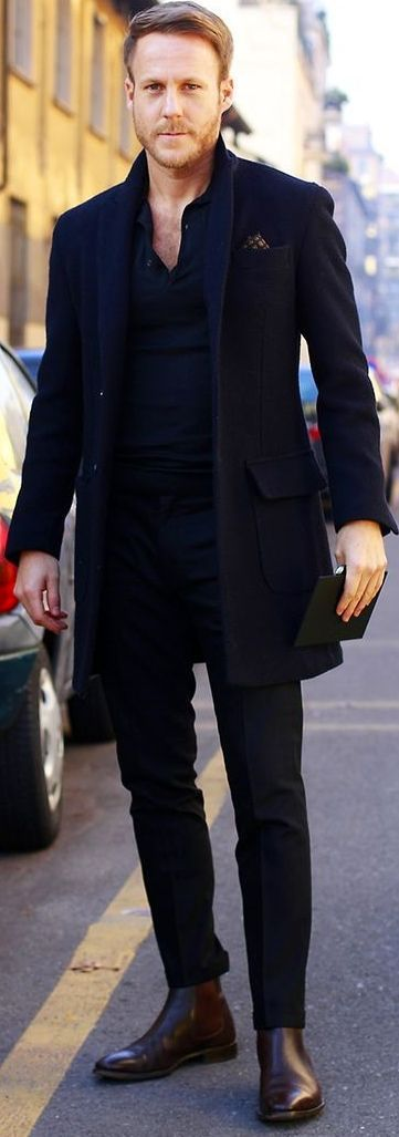 The complete black Outfit with Black Overcoat