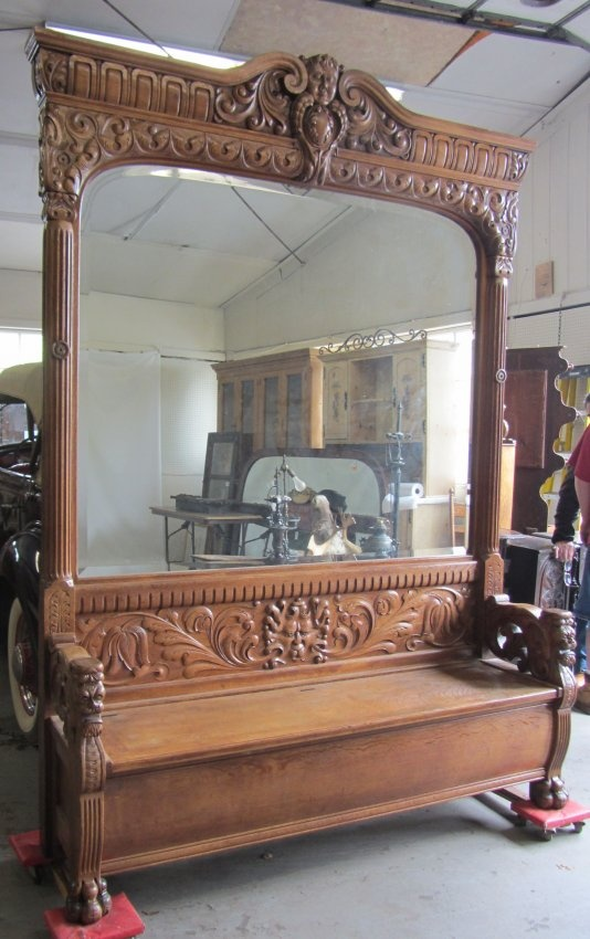 Monumental C1890 Quartersawn oak lift top hallrack with bevel mirror and standing winged griffins 99 x 69 x 18 Auction Estimate 1250-2500