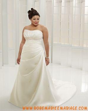 Robe simple en satin ornée de broderies robe de mariée grande taille