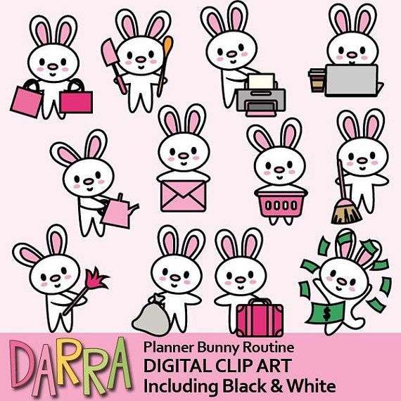 Bunny clipart commercial use, kawaii cute printable planner sticker clip art /  rabbit to do lost routine activities / work, house clean