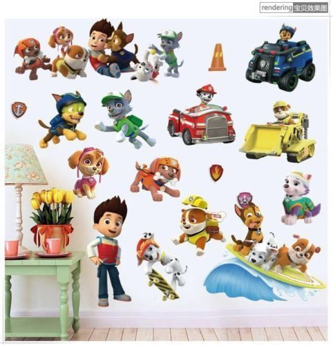 PAW PATROL WALL STICKER 3D BOYS GIRLS BEDROOM VINYL WALL ART DECAL #Unbranded #Cartoon
