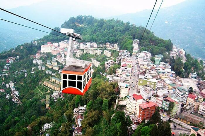 The 1 Km cable ride over Gangtok city