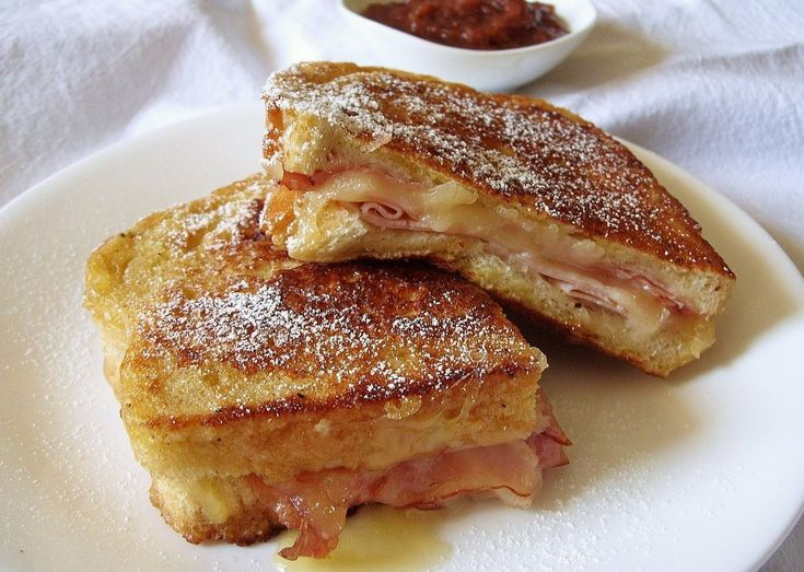 The Monte Cristo: Ham, turkey and swiss on white, dipped in egg and ...