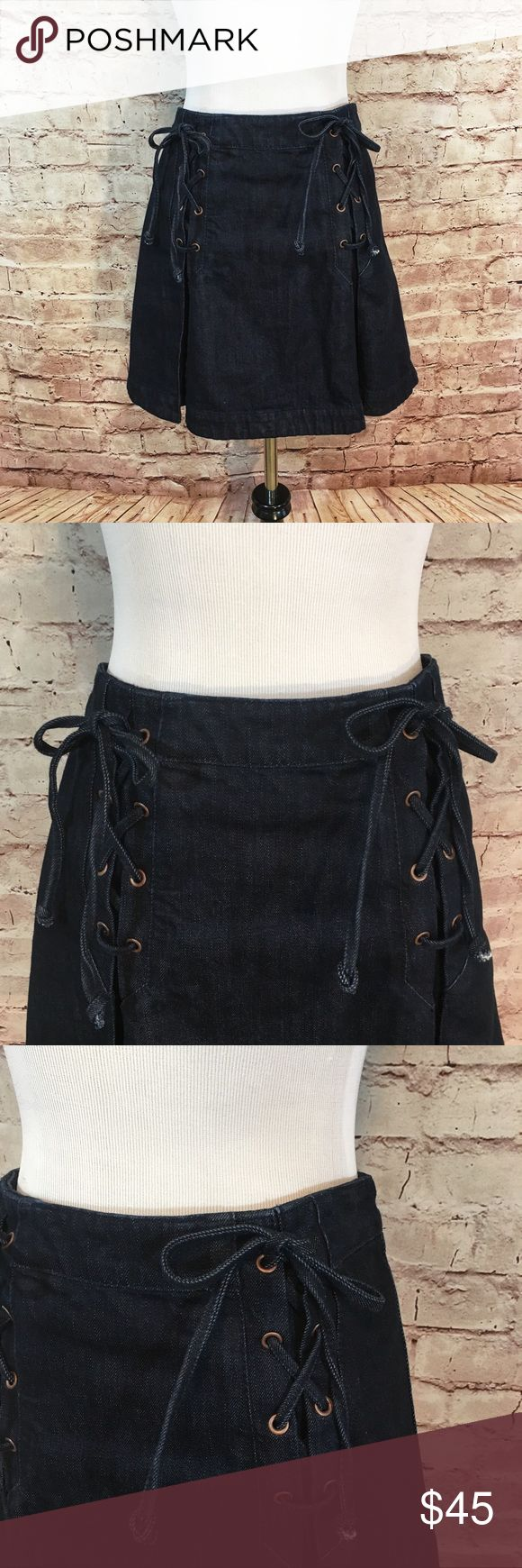 """Free People Denim Skater Skirt Dark wash denim jean skater skirt with front pleats and decorative ties with antique grommets from Free People.   The skirt has a back zipper closure. 100% Cotton. Size 6. Waist 28"""". Length 16.5"""". Like new condition. No flaws or signs of wear. Free People Skirts Circle & Skater"""