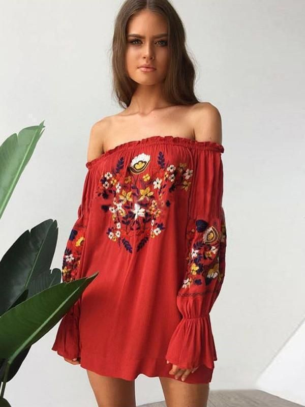 8c1b54916a87 Bohemia Floral-Printed Off-the-shoulder Puff-sleeves Mini Dress in ...