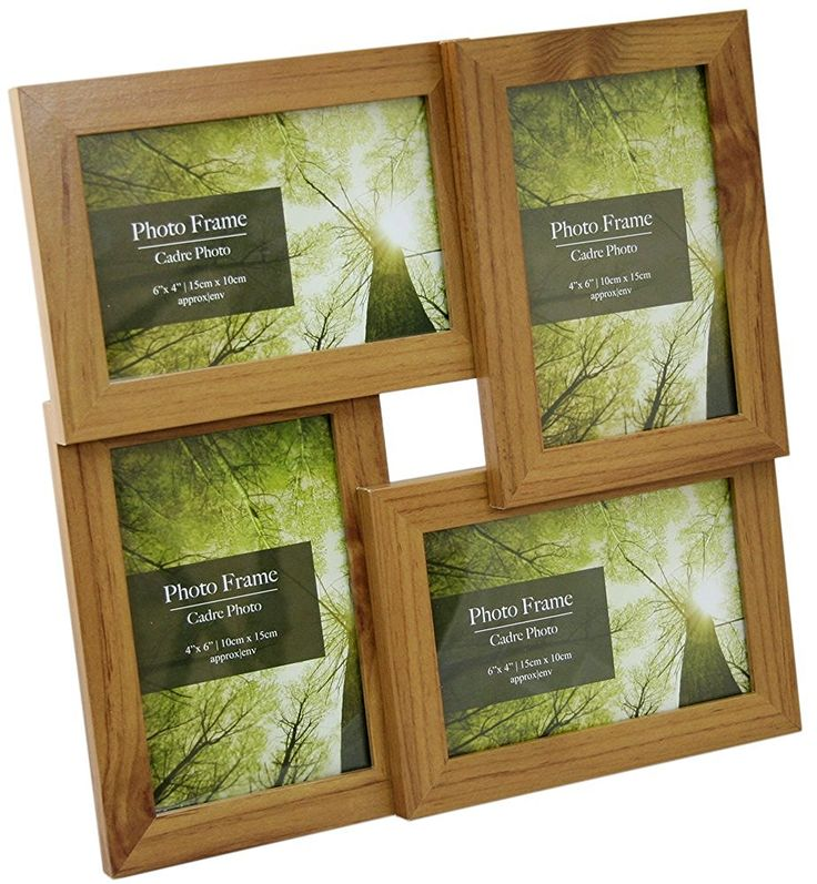 """Standing & Wall Mounted 4 Picture Photo Frame 4"""" x 6"""" Wooden Effect Multi Quad Layered: Amazon.co.uk: Kitchen & Home"""