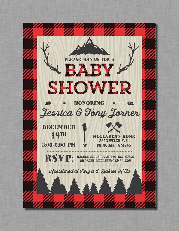 Lumberjack Baby Shower invitation with buffalo plaid in red and black. It has mountains, trees, axes, and arrows. You can choose from printable invitations or printed invitations!