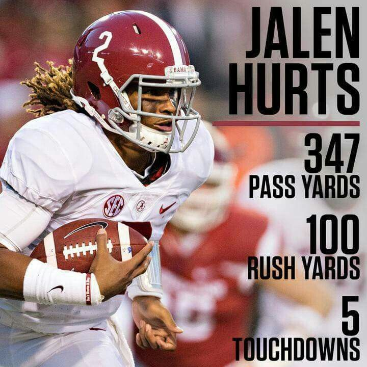Jalen Hurts Alabama Football #Alabama #RollTide #Bama #BuiltByBama #RTR #CrimsonTide #RammerJammer #MSSTvsBAMA