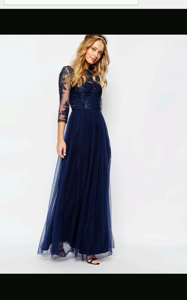 Chi chi london( asos) bardot lace Maxi Dress tulle skirt prom ball party gown 8