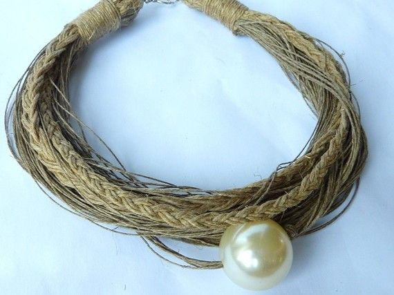 Just one Ivory Pearl Linen Necklace. $35.00, via Etsy.