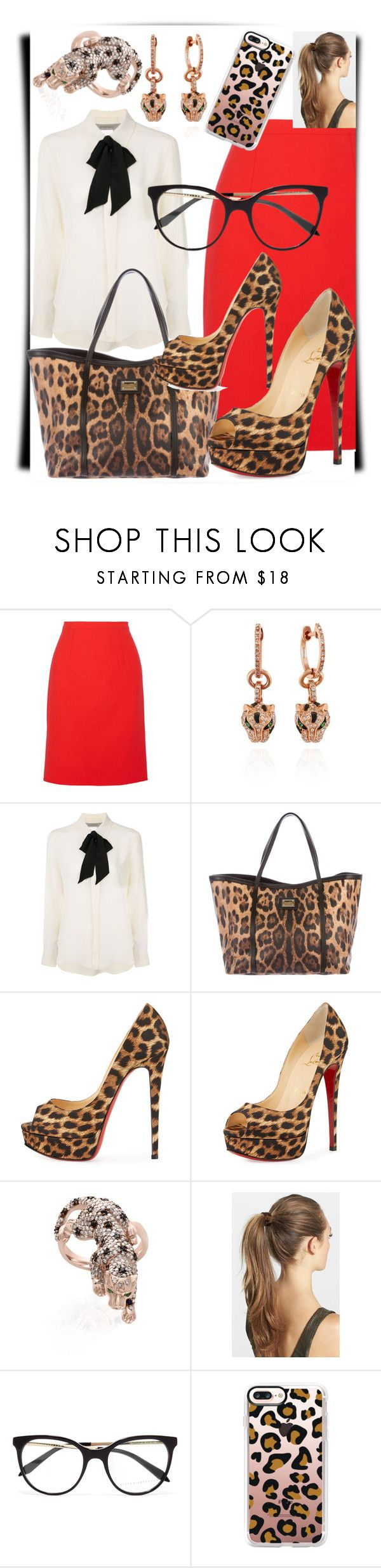"""""""Work Leopard"""" by dark-muffins ❤ liked on Polyvore featuring Oscar de la Renta, Effy Jewelry, Sportmax, Dolce&Gabbana, Christian Louboutin, France Luxe, Victoria Beckham and Casetify"""