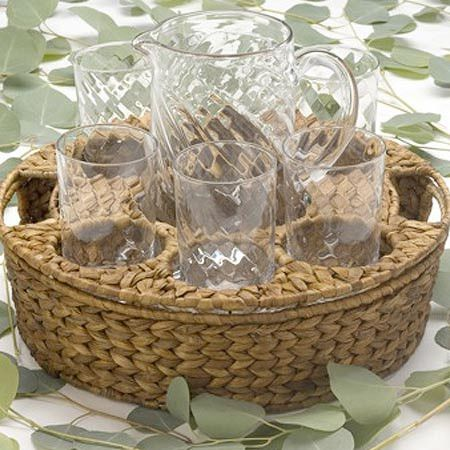 Perfect for Sunday brunch or an alfresco soiree, this lovely beverage set brings a charming touch to your table. Featuring hand-blown glasses and a pitcher n...
