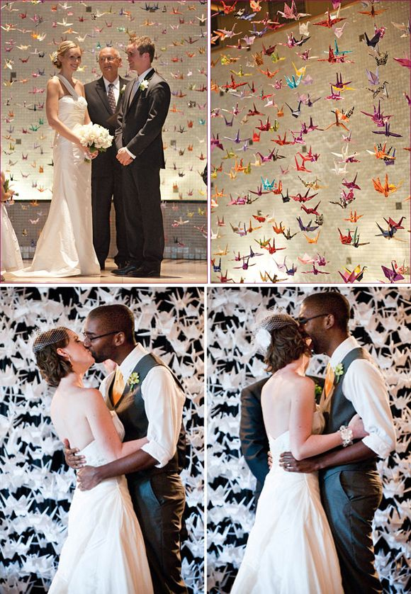 They say if you fold 1000 paper cranes then your heart's desires will come true, and colorful crane curtain proved the perfect setting for vows.  Be warned though, if you fancy creating your own version make sure you can convince plenty of people to help!