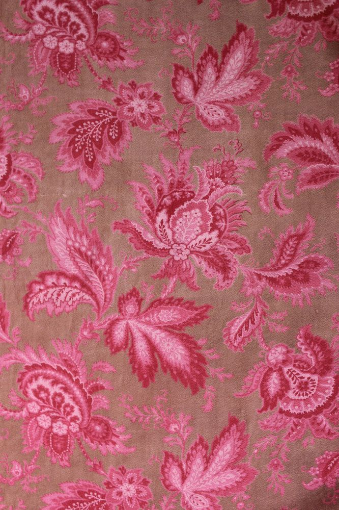Antique French printed cotton Art Nouveau curtain fabric ~ rasberry / brown1890 in Antiques | eBay