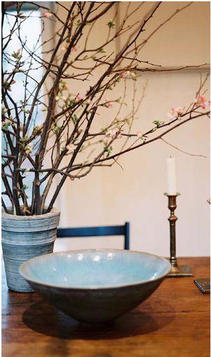 Blue glazed ceramics & brass