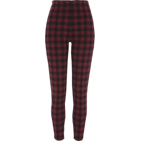 River Island Red check leggings ($50) ❤ liked on Polyvore featuring pants, leggings, bottoms, red, women, elastic waist pants, river island, river island leggings, checked leggings and elastic waistband pants