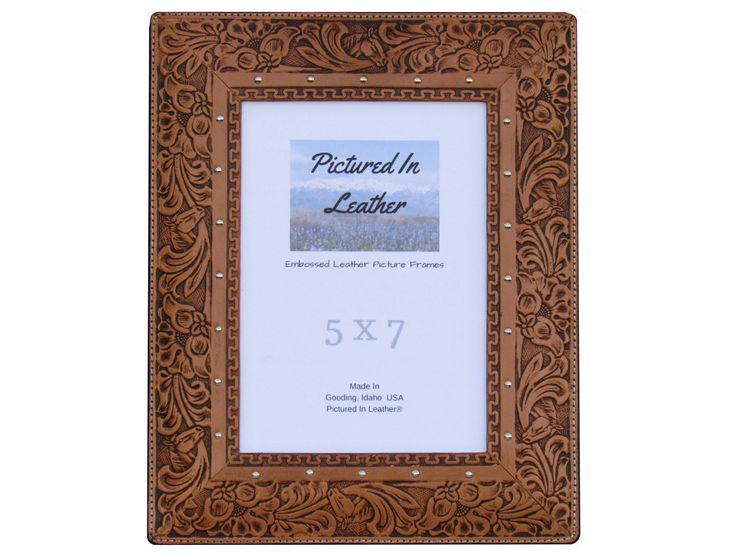 $54  A leather picture frame, 5x7, embossed with a horse and floral design that you will love! This western picture frame will be the perfect compliment to many decors including your western decor or your rustic decor. A great gift for anyone!