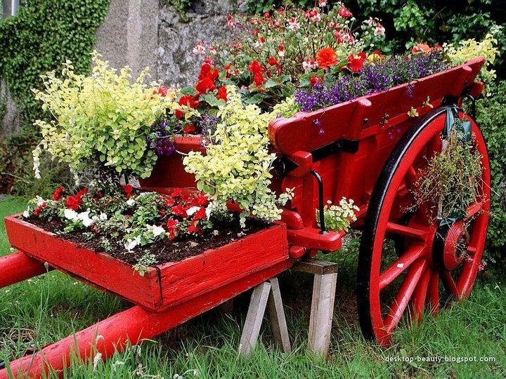 : Flowers Gardens, Gardens Ideas, Wheelbarrow Planter, Wagon Planters, Old Wagon, Red Wagon, Beautiful Gardens, Flowers Wallpapers, Flowers Carts