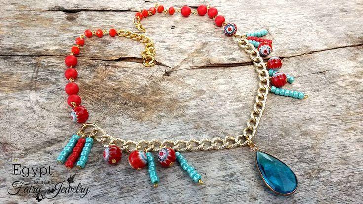 Collana Egypt alluminio dorata perline toho lampwork rosso turchese egitto , by Evangela Fairy Jewelry, 17,00 € su misshobby.com
