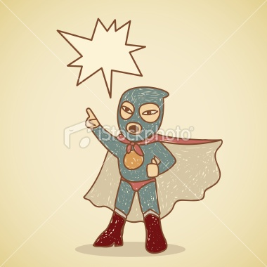 Retro angry ninja superhero making an announcement Royalty Free Stock Vector Art Illustration