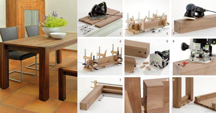 Uno spettacolare tavolo allungabile fai da te dalle linea moderna, insieme alla sua panca, offre posto per l'intera famiglia e anche per gli amici