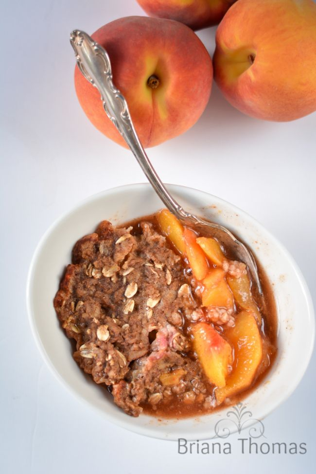 Healthy Peach Cobbler...using a surprising ingredient!  THM:E, low fat, sugar free, gluten/nut free