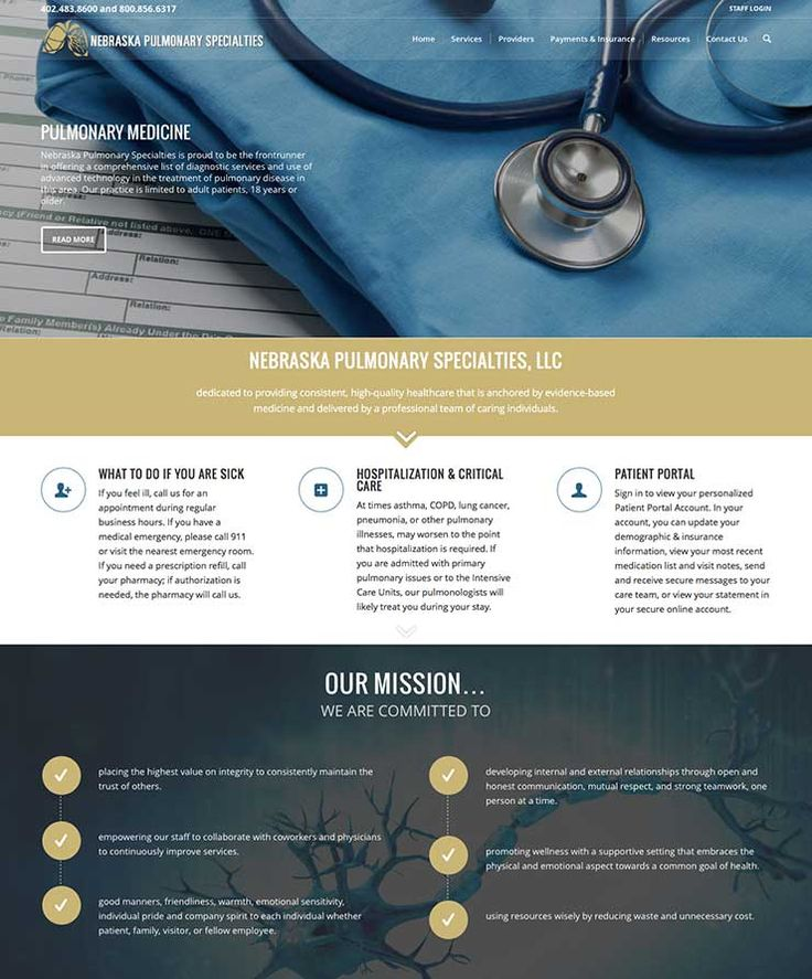 Pulmonary medicine clinic website by Slide Arts Graphic Design using  WordPress.