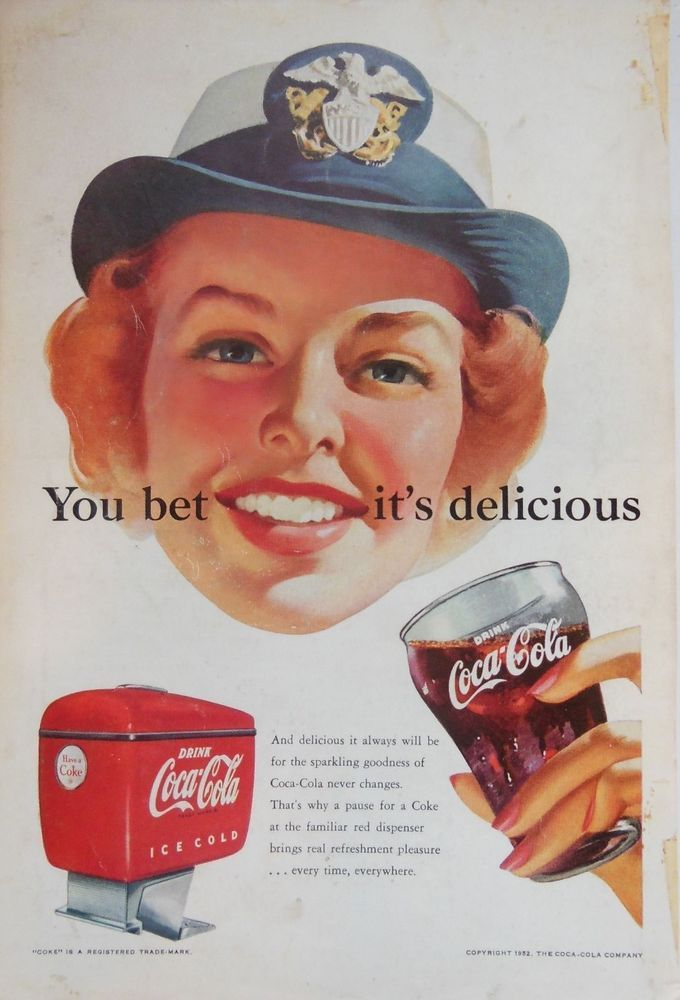COKE COCA COLA RETRO ESKY AD 1950s original vintage