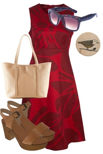 Blood Red Bloom Outfit includes Essaye, Depeapa, and Mollini - Birdsnest Fashion Clothing