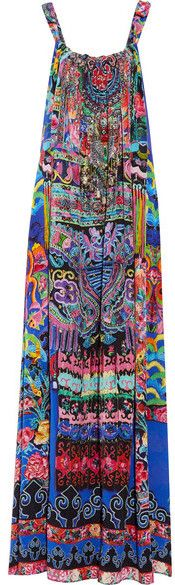 Camilla - Chinese Whispers Embellished Printed Silk-georgette Maxi Dress - Bright blue