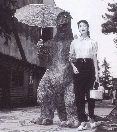 Sunday in the park with Godzilla. Haruo Nakajima & Momoko Kôchi on the set of Godzilla, 1954. Director Eiji Tsuburaya, born July 7, 1901
