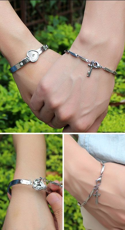 OuYan Couples Bracelets, Key to My Heart Bangle and Bracelet Set in Titanium Steel, Key Charm Bracelet for Men, Matching His and Hers Jewelry for Couples