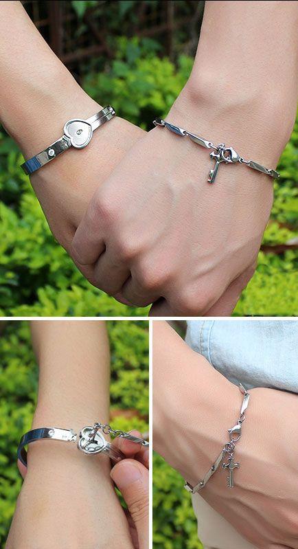 Matching Lock and Key Bangle & Bracelet Set for Couples @ iDream-Jewelry.Com