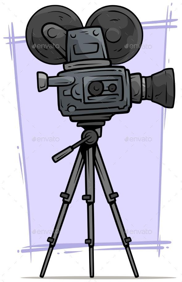 Cartoon Vintage Retro Movie Camera On Tripod Retro,  -6198