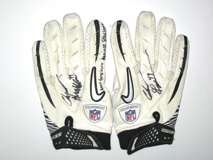 Chris Gronkowski Indianapolis Colts Game Worn & Signed White & Black Nike Gloves (Worn Vs Steelers)