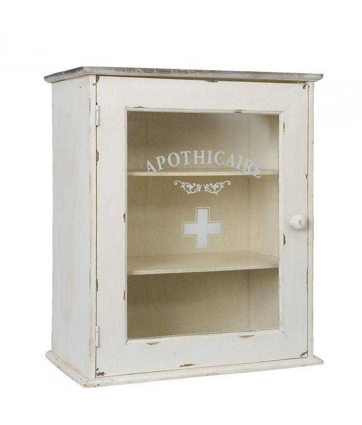 Clayre & Eef Houten medicijnkast 47*55*27 cm apothecaire, wit met glazen deur
