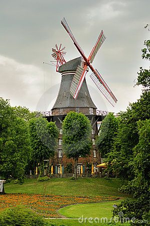 Windmill in Bremen, Germany by Ifeelstock, via Dreamstime. -- Since I live in Bremen, Georgia, USA, I think it would be neat to visit the town it's named for.