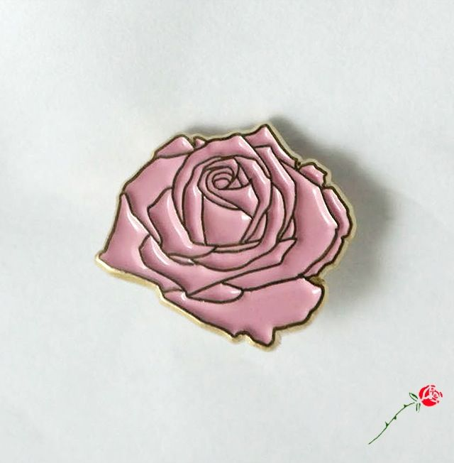 "Dusty Rose Pin Of all the pretty pink flowers, this is one of them. This executive quality soft-enamel pin measures .75"" wide and features a..."