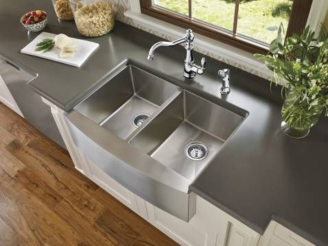 Over-sized double stainless steel sink to accommodate a variety of cookware #LGLimitlessDesign #Contest